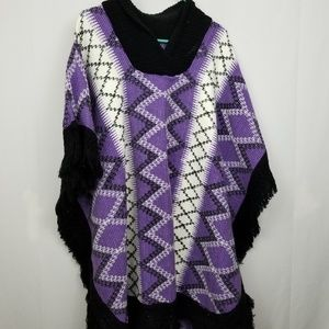 Jackets & Blazers - Vintage Blanket Poncho OS Purple Black White